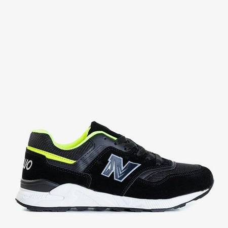 OUTLET Black women's sports shoes with green inserts Loccia - Footwear