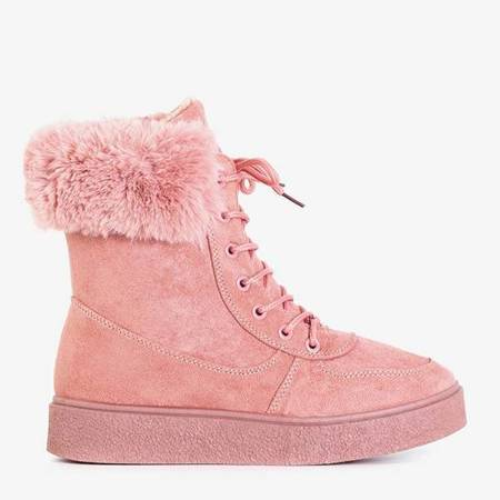 OUTLET Dark pink women's lace-up snow boots Evitina - Footwear
