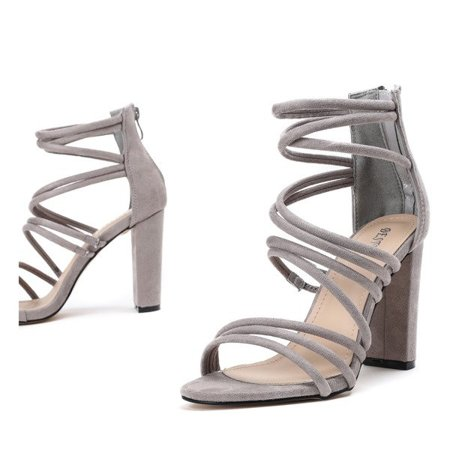 OUTLET Gray sandals on a high post Almidia - Footwear