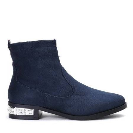 OUTLET Navy blue Chelsea boots with a decorative heel Vierra - Footwear