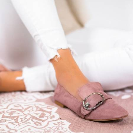 OUTLET Pink loafers with a buckle Alessia - Shoes