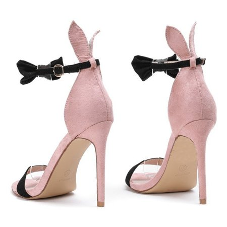 OUTLET Pink sandals on a high heel with a black bow and Poppy ears - Shoes
