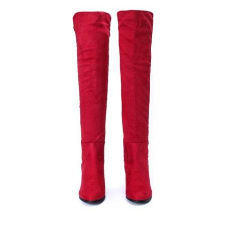 OUTLET Red, long boots with cubic zirconia Meg- Shoes