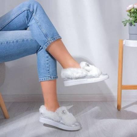 OUTLET White slip on with fur Manifik - Footwear