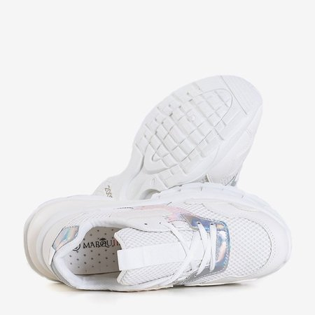 OUTLET White sports sneakers for women with holographic inserts Agapila - Footwear