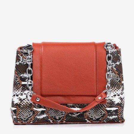 Orange women's handbag a'la snake skin - Handbags