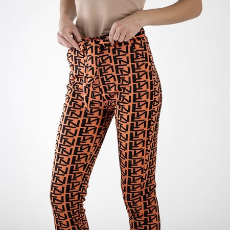 Orange women's patterned trousers - Clothing