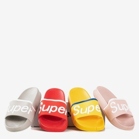 Pink children's slippers with Super inscription - Footwear