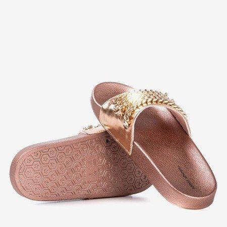 Pink-gold flip-flops with Slivien chain - Footwear 1