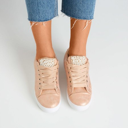 Pink sneakers decorated with pearls Palivia - Footwear 1