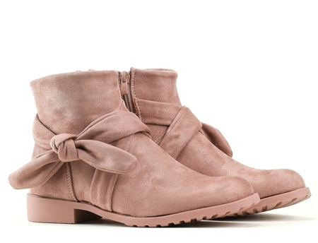 Pink, suede boots with a bow Tabitha - Footwear