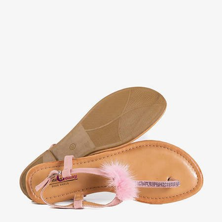 Pink women's sandals with Begnetia ornaments - Footwear