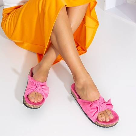 Pink women's slippers with a Sun and Fun bow - Footwear
