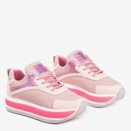 Pink women's sports shoes on a thick Savssia platform - Footwear