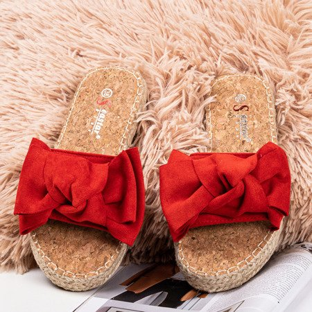 Red flip flops with a bow Playa - Footwear 1