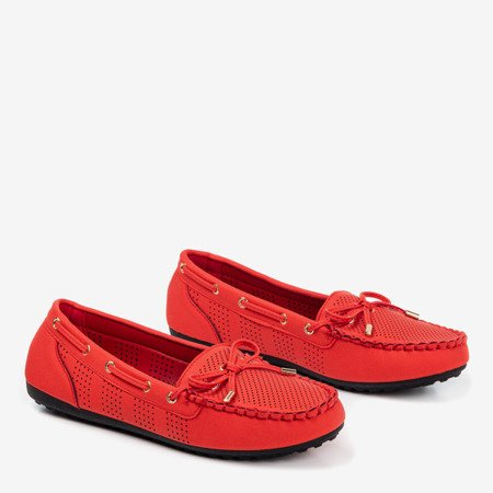 Red loafers with a bow Orisa - Footwear 1