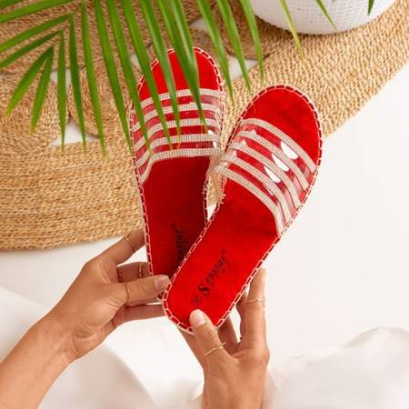 Red transparent slippers with cubic zirconia Noumeia - Footwear