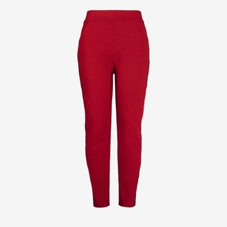 Red women's sweatpants with stripes PLUS SIZE - Pants 1