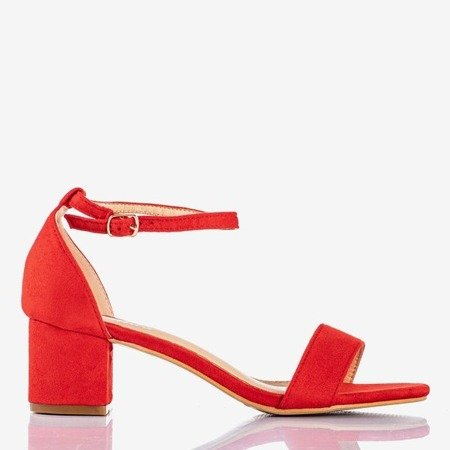 Red women's sandals on a low post First Love - Footwear 1
