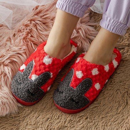 Red women's slippers with a bunny Krystian - Footwear