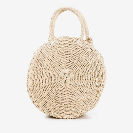 Round straw bag for women in beige - Handbags 1