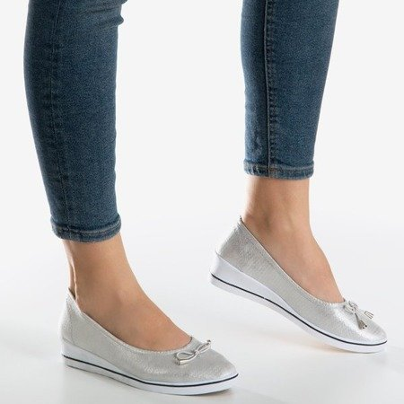 Silver ballerina on wedges Moriah - Shoes 1