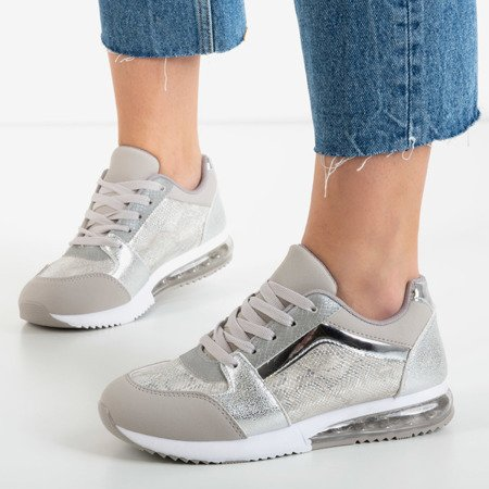 Silver sports shoes with a snake skin decoration Obsession - Footwear