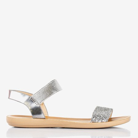 Silver women's flat sandals Brocella - Footwear 1
