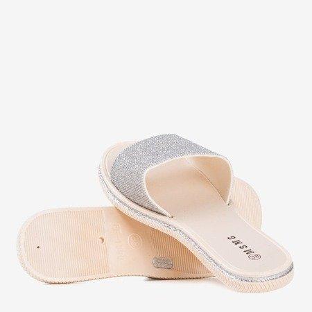 Silver women's flip-flops with Cubic zirconia Rocca - Footwear 1