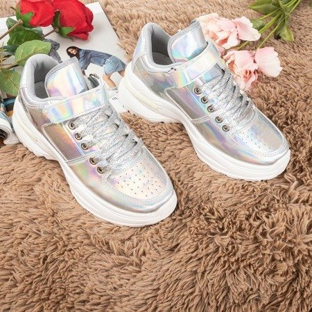 Silver women's sneakers with a holographic finish That's You - Footwear 1