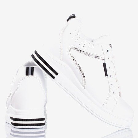 Sneakers with a wedge heel with snake skin inserts Marcja - Footwear