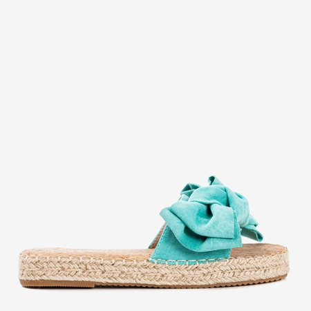 Turquoise flip-flops with a bow Playa - Footwear 1