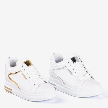White and gold sneakers on a wedge heel Marcja - Footwear