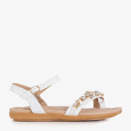 White eco-leather sandals with Dill decorations - Footwear