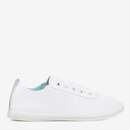 White openwork sneakers with a holographic insert Jasenia - Footwear 1