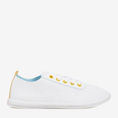 White openwork sneakers with yellow insert Jasenia - Footwear 1