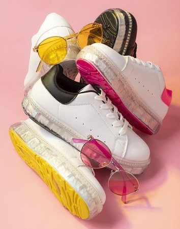 White sneakers on a platform with zircons Mauria - Footwear