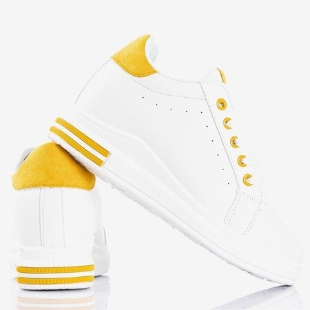 White sneakers with a wedge heel with yellow Sliomenea inserts - Footwear