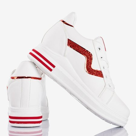 White sports shoes on an indoor wedge with red Say It inserts - Footwear 1