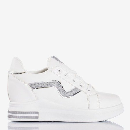 White sports shoes on an indoor wedge with silver Say It inserts - Footwear 1