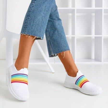 White women's slip-on rainbow sports shoes - Footwear 1