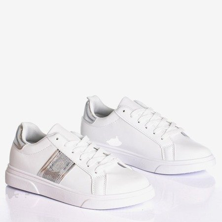 White women's sports sneakers with silver Hypnos inserts - Footwear 1
