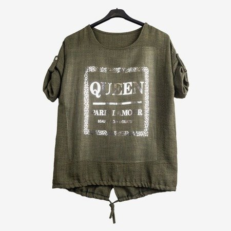 Women's green tunic with inscriptions - Blouses 1