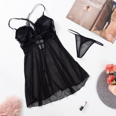 Women's Black Petticoat T-Shirt with Lace - Underwear