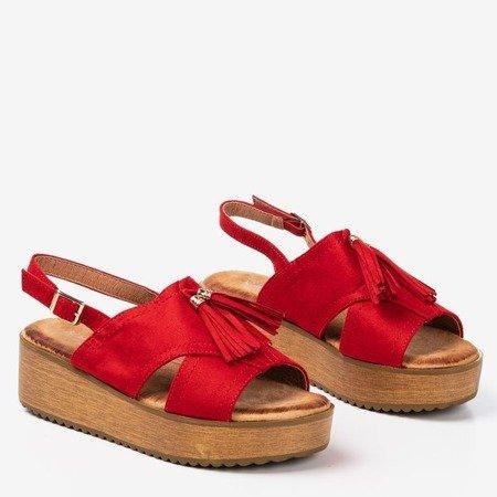 Women's Red Indinara Fringed Platform Sandals - Footwear