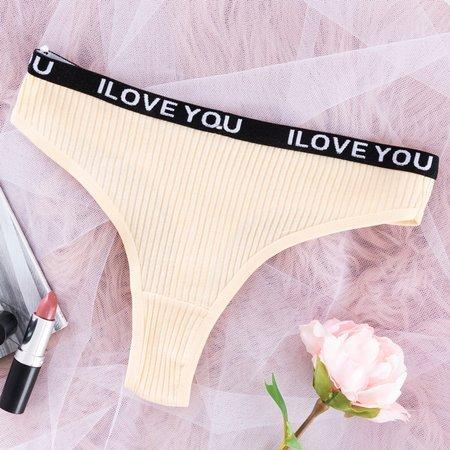 Women's beige cotton thong - Underwear
