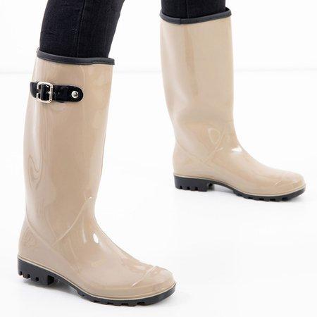 Women's beige wellies to the knee with a buckle Vivien- Footwear
