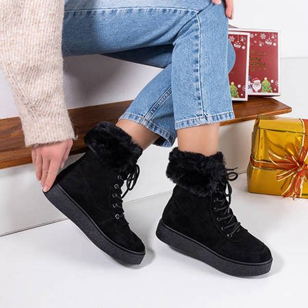 Women's black lace-up snow boots Evitina - Footwear