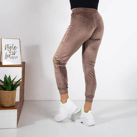 Women's brown sweatpants with inscriptions - Clothing