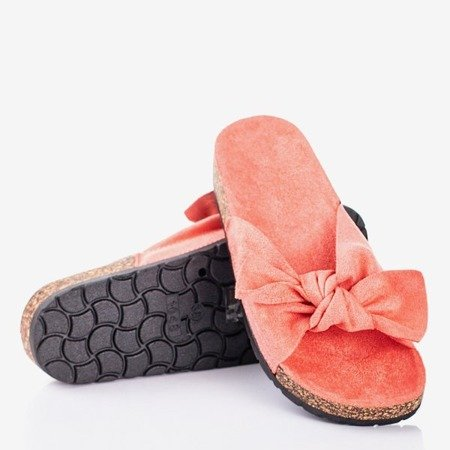 Women's coral slippers with bow Sun and Fun - Footwear 1